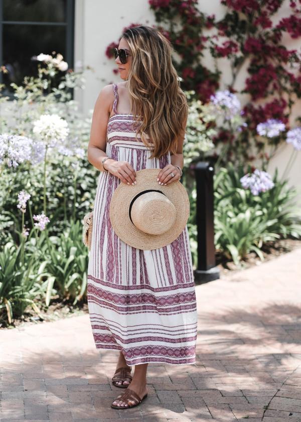 the teacher diva blogger shirt dress skirt hat shoes tumblr stripes striped dress maxi dress long dress sun hat sandals flat sandals summer dress summer outfits