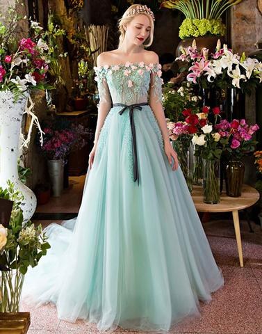 Unique A-line lace tulle green long prom dress, green evening dress - 24prom
