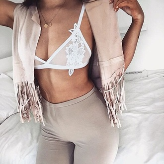 top lace lace bralette white lace lace lingerie white lace top fringes fringed jacket nude neutral gold necklace gold jewelry delicate gold jewellery sexy bralette underwear tumblr white bralette necklace vest nude vest leggings nude leggings