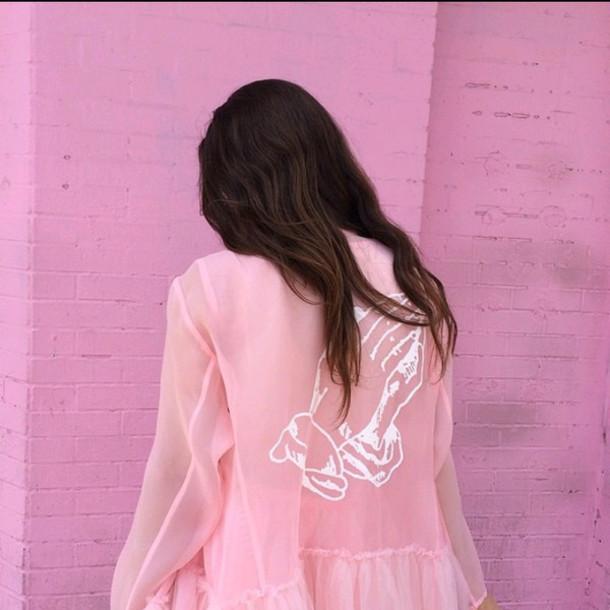 Blouse Top Jacket Rose Pale Pale Grunge Soft Grunge Tumblr