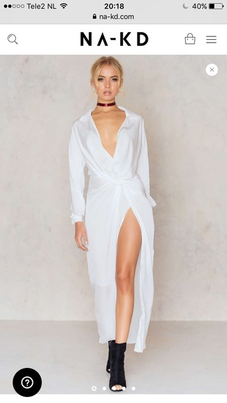 dress na-kd white fashion style trendy feminine elegant maxi dress long sleeves long dress