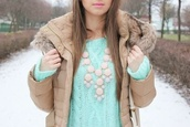 jacket,hooded,fur trim,mint,knitted sweater,statement necklace,winter outfits,cozy,coat,beige,beige coat,winter jacket