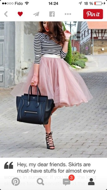 skirt pastel pink long skirt midi skirt tulle skirt tulle skirt shirt long sleeves stripes black and white