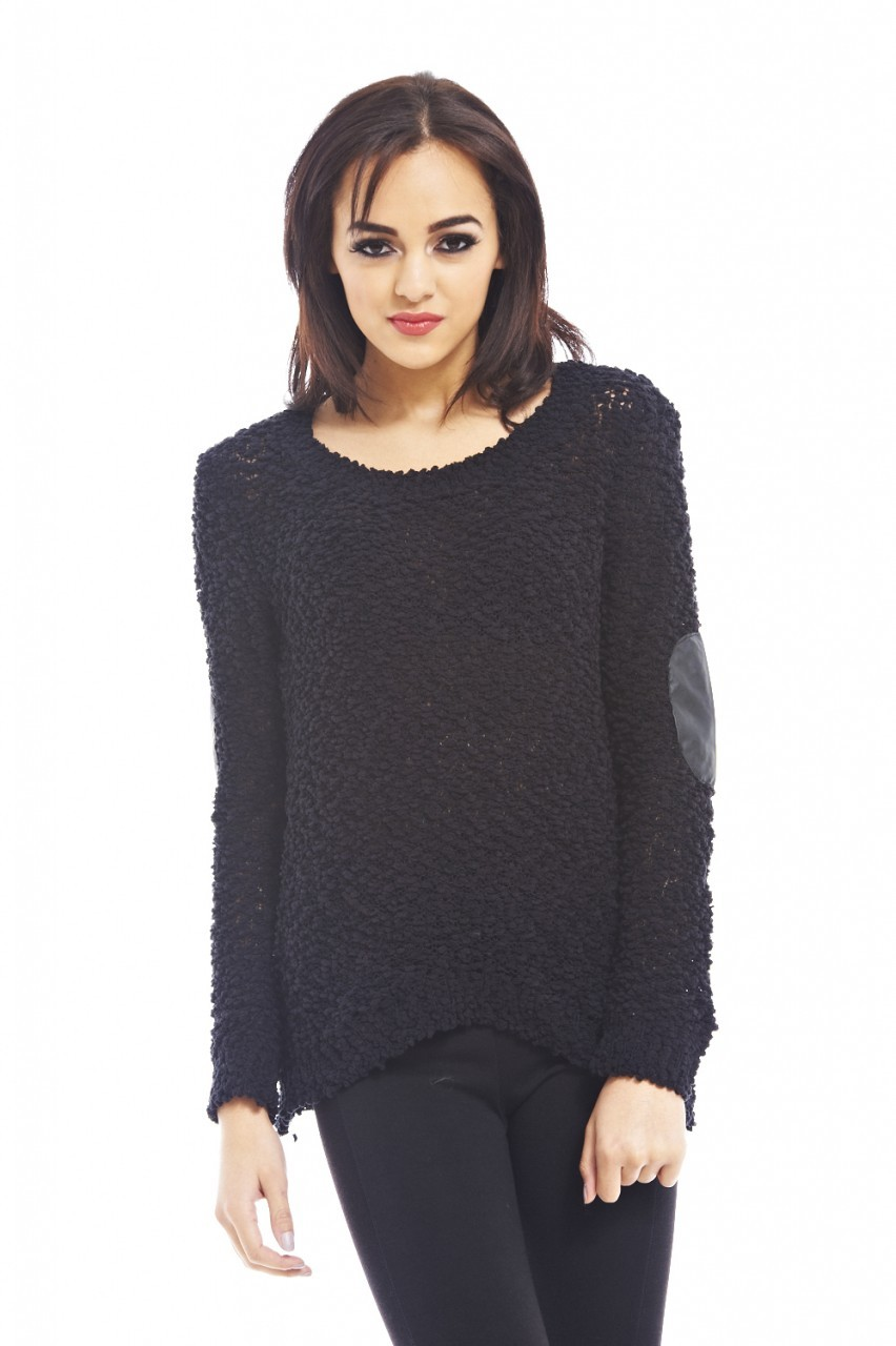 Black Loose Knit Elbow Pad Sweater