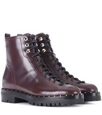 leather ankle boots ankle boots leather purple shoes