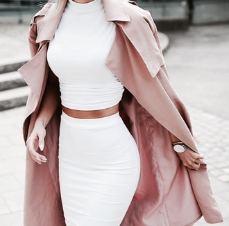 coat rose coat red rose coat white two piece classy two-piece two piece dress set crop tops dress white skirt top jacket long pale pink fashionable trench coat jumpsuit style white dress white top white shirt long coat pink girly classy and fabulous beutifull elegant women beautiful