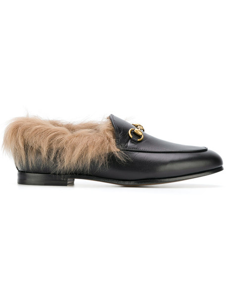 hair fur women loafers leather black shoes