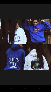 sweater,couple sweaters,jumper,jacket,blue,white,sweatshirt,superman,hoodie,bag,shirt,matching couples,bf gf,world,couple jackets,couple,boyfriend,cardigan,superman hoodie,swetshirts,matching set,writing,clothes,superman blue and world,couples shirts,want them,i need them,entire outfit must have