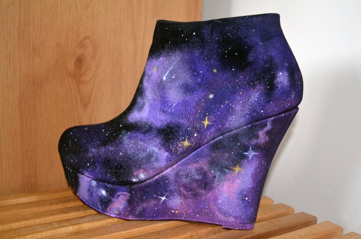 DIY Nebula Galaxy Space Wedges Shoes Speed Video - YouTube