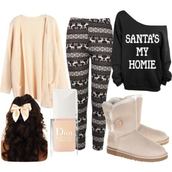 hair bow black sweater apricot nail polish boots winter boots uggs winter leggings oversized sweater