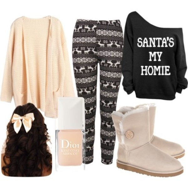 sweater apricot black hair bow nail polish boots winter boots ugg boots winter leggings oversized sweater jacket hair accessory holiday season santa claus leggings pull ugg boots dior cardigan outfit winter sweater pants leggings santa christmas cute bow wolly hat pink shoes christmas leggings one shoulder