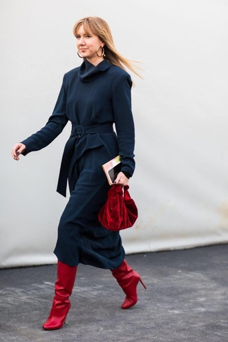 dress midi dress navy dress boots red boots bag red bag long sleeves long sleeve dress