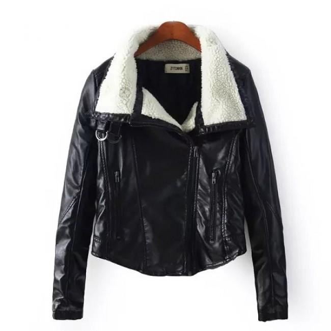 Lamb wool collar jacket
