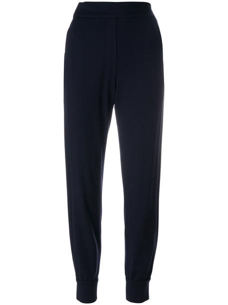 Dorothee Schumacher - tailored track pants - women - Polyamide/Spandex/Elastane/Viscose - 4, Blue, Polyamide/Spandex/Elastane/Viscose