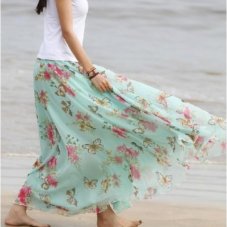 Blue High Quality Chiffon skirt Maxi Skirt Long Skirt lml4007 - lol-malls - Trustful Online Shopping for Women Dresses