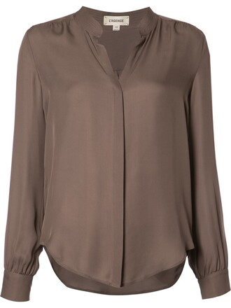 shirt collar shirt women silk brown top