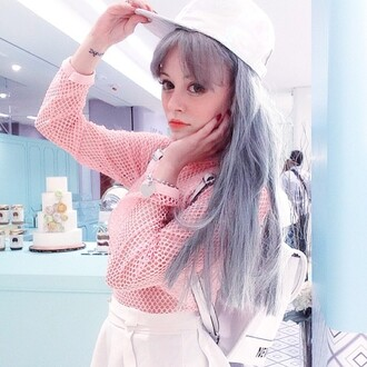 shirt pink light pink cute girly long sleeves holes kawaii kawaii shirt