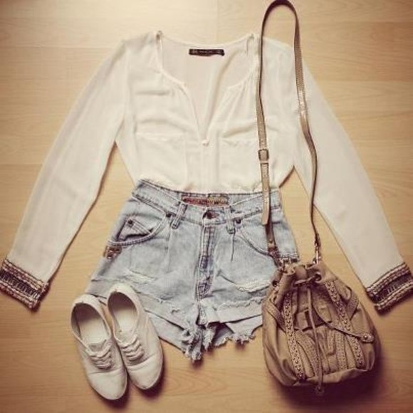 bag shorts brown bag summer shoes white blouse keds blouse clothes white