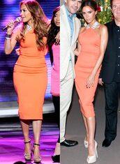 dress,victoria beckham,jennifer lopez,celebrity style,celebrity style steal,celebrity,orange dress,orange,sleeveless dress,sleeveless,white dress