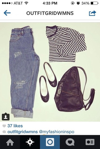 shirt shoes bag striped skirt purse jeans flats