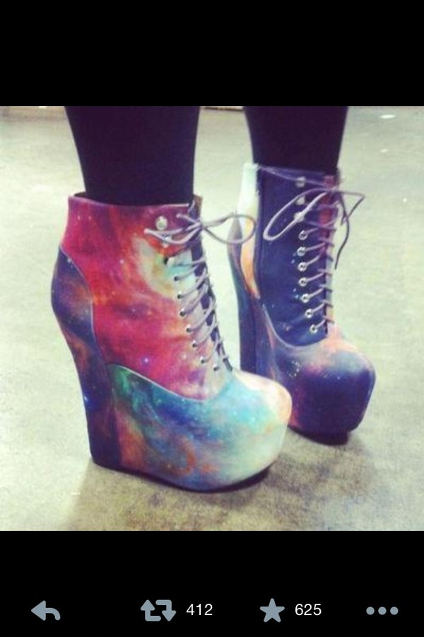 shoes galaxy print boots booties wedges lace up