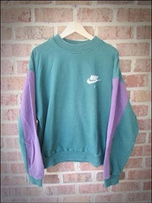 sweater,nike sweater,nike crewneck,green sweater,terqouise,nike air,nike sweatshirt,style,jacket,sweatshirt,vintage,coca cola,green,nike,retro,retro nike,purple,oversized sweater,shirt,blue,purple sleeves,aesthetic