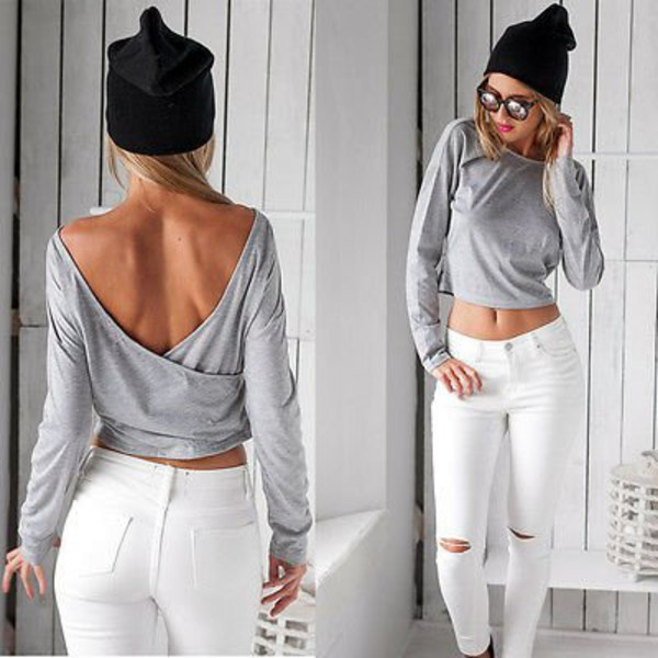 top grey grey grey sweater grey top grey crop top grey  t-shirt open back open back crop top black open back crop top grey open back crop top gray crop top sexy deep v back deep v deep v top backless backless sweater backless crop top long sleeves long sleeve grey top long sleeve crop top longsleeved crop top party casual casual top fashion musthave must-have musthaves sexy top sexy backless top hollow out halter top halter  sweater fashion toast fashion vieb fashionista girly girly wishlist cute lovely jeans top jeans crop top ripped knee jeans ripped skinny jeans white jeans blouse jeans leggings 28719 t-shirt tights dark grey t shirt slit knee jeans