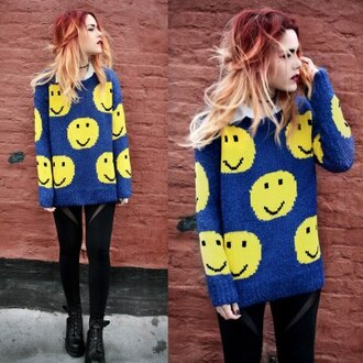 sweater warm winter outfits leggings shoes drmartens smileys smiley dip dyed peace people inlove blue sweater