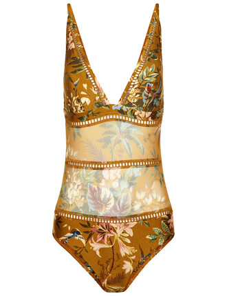 floral swimsuit tropical floral mustard swimwear