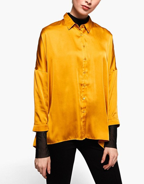 shirt oversized satin mustard top