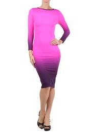 dress,midi,bodycon dress,bodycon,ombre dress,purple dress,pencil dress,colorblock dress,pink bodycon dress,pink dress,ladiesfashionsense.com,shoes