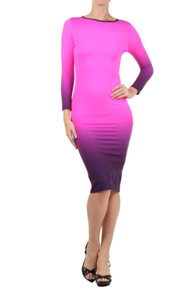 colorblock dress dress pink dress pencil dress midi fitted dress bodycon dress bodycondress ombre dress purple dress pink bodycon dress ladiesfashionsense.com shoes