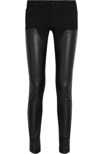 jeans skinny jeans leather black