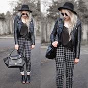 sammi jackson,blogger,peep toe heels,checkered,leather jacket,black hat,printed pants,black and white