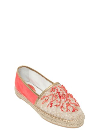 mesh beaded espadrilles lace nude coral shoes