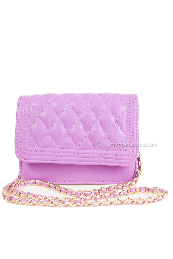 Lost In Manhattan Quilted Bag - Purple – Honey Peaches