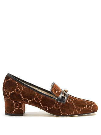 pumps velvet brown shoes