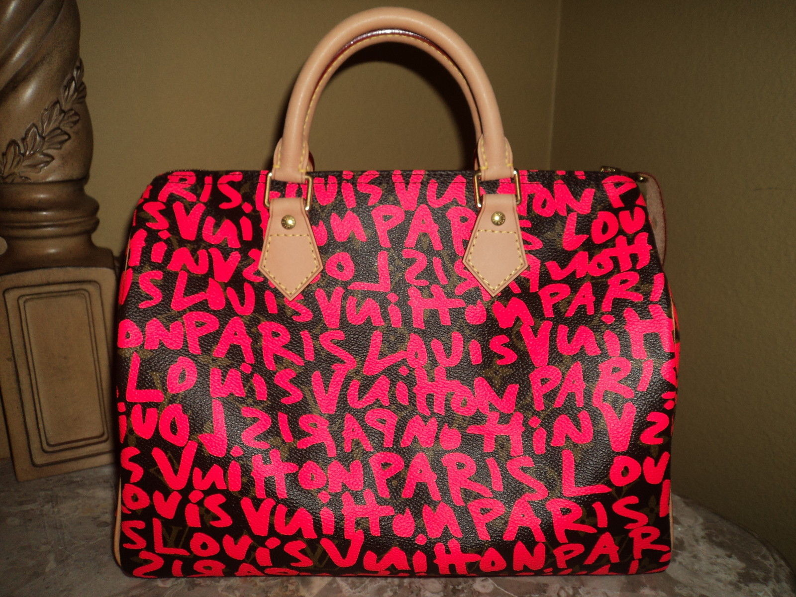 NEW Louis Vuitton Sprouse Monogram Graffiti Fuchsia Pink Speedy30 Made in France - Handbags & Purses