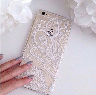 phone cover clear white gold mandala iphone 6 case