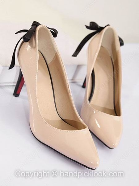 Apricot Leatherette Women's Kitten Heel Closed Toe With Bowknot Shoes - HandpickLook.com