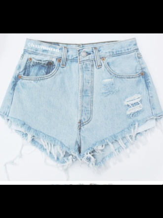 shorts ripped pale blue short denim high waisted jeans blue levi's ripped