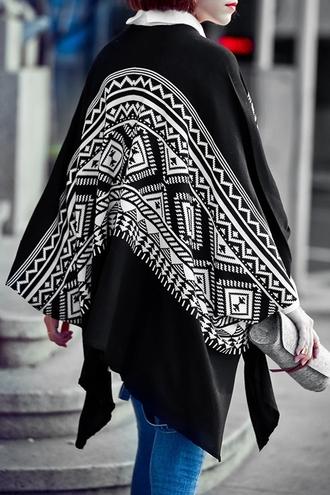 cardigan kimono black and white tribal pattern casual fashion style cool trendy