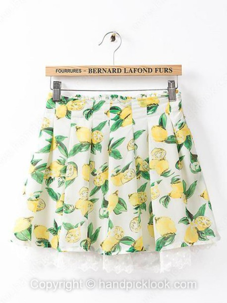 skirt pleated skirt pleated fruits fruits fruits peach lemon lemon print peaches