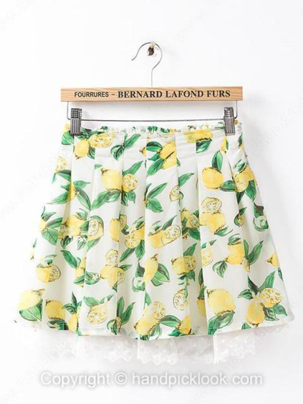 skirt pleated skirt pleated fruits fruits fruits peach lemon lemon print peaches