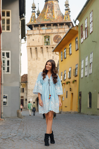 the mysterious girl blogger dress shoes blue dress summer dress summer outfits ankle boots fall outfits