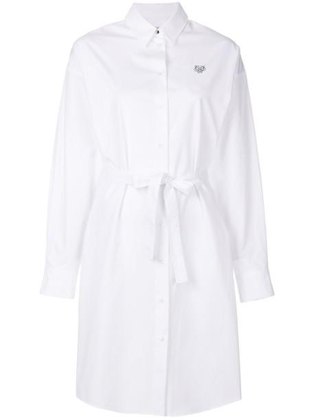 Kenzo dress shirt dress mini women tiger white cotton