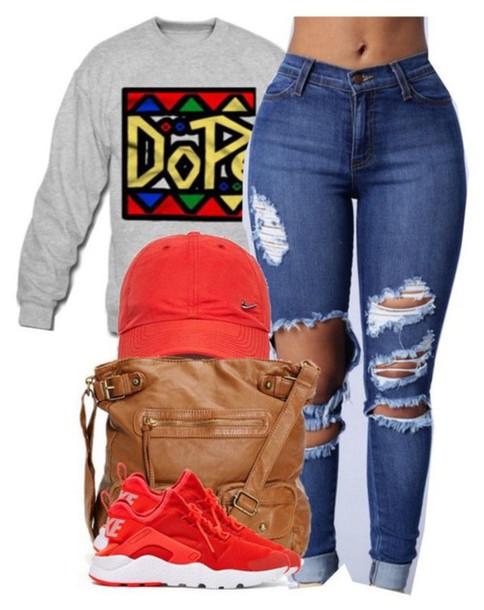 4e9db2f8d91 shirt sweater sweatshirt jeans ripped jeans hat cap seakers nike ripped  jeans dope sweatshirt