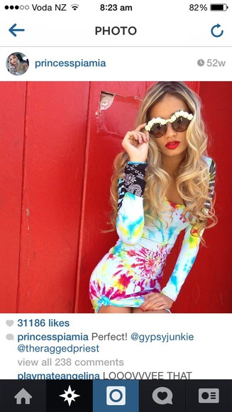 tie dye dress cute coulourful pia mia