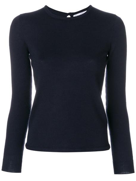 oscar de la renta jumper women blue silk sweater