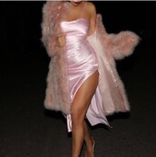 dress,silk,cute dress,pink dress,party dress,short dress,satin,satin dress,fur scarf,faux fur,pink,faux fur jacket,coat,fur coat,slip dress,baby pink,pink silk strappy dress